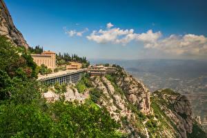 Hintergrundbilder Spanien Kloster Felsen Catalonia, Benedictine monastery of Montserrat