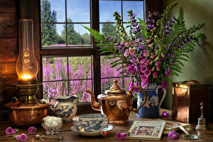 Images Still-life Paraffin lamp Bouquets Foxgloves Kettle Cup Sugar Book Pitcher Window Food Flowers