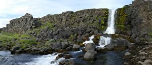 Bilder Steine Island Parks Laubmoose Felsen Bäche Thingvellir national Park Natur