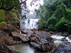 Hintergrundbilder Steine Flusse Wasserfall Indien Sathodi Waterfall, Kali Gandaki River