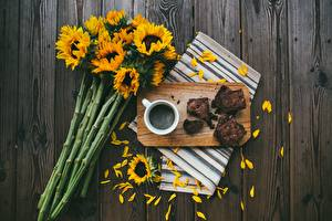 Images Sunflowers Coffee Boards Cutting board Petals Mug Food