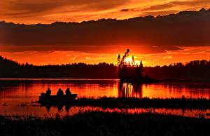 Wallpapers Sunrises and sunsets Evening Fishing Boats Nature pictures images
