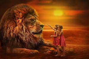 Pictures Sunrises and sunsets Lions Little girls Children