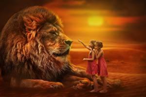 Fotos Sonnenaufgänge und Sonnenuntergänge Löwe Kleine Mädchen Kinder