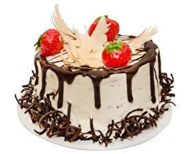 Fotos Süßware Torte Erdbeeren Schokolade Weißer hintergrund Design Lebensmittel