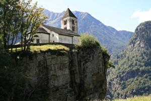 Fonds d'écran Suisse Montagne Église Falaise Ticino Burgdorf