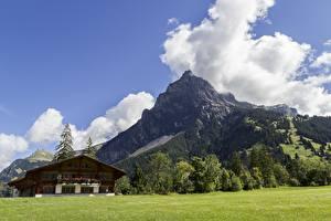 Fonds d'écran Suisse Montagnes Photographie de paysage Alpes Nuage Village Kandersteg, Canton of Bern Nature