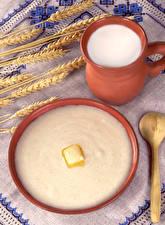 Hintergrundbilder Tischdecke Milch Weizen Brei Öle Farina Lebensmittel