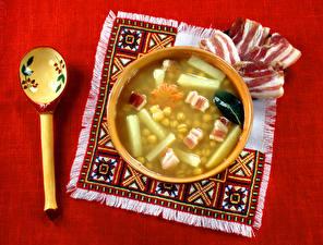 Hintergrundbilder Tischdecke Suppe Schinkenspeck Löffel Schüssel Lebensmittel