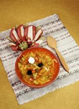 壁纸、、テーブルクロス、スープ、スプーン、食品
