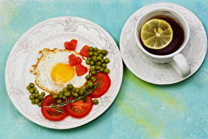 Wallpaper Tea Tomatoes Green peas Breakfast Plate Fried egg Cup Heart Saucer Food