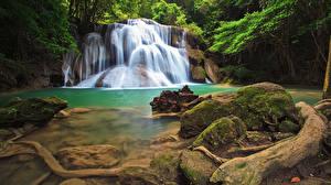 Hintergrundbilder Thailand Tropen Park Wasserfall Steine Felsen Laubmoose