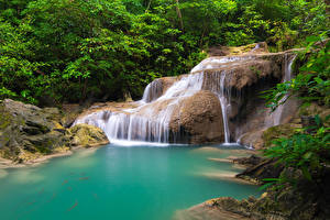 Wallpapers Thailand Tropics Parks Waterfalls Trees Cliff