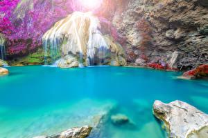 Hintergrundbilder Thailand Tropen Wasserfall Felsen Ast Natur