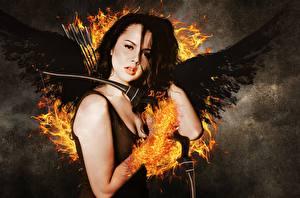 Hintergrundbilder Die Tribute von Panem – The Hunger Games Flamme Engel Brünette Starren Film Mädchens