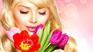 Wallpaper Tulips Lips Blonde girl Face Girls