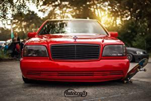 Fonds d'écran Tuning Mercedes-Benz Devant Rouge Phare automobile w140 s320 Voitures