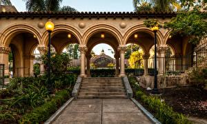 Fotos Vereinigte Staaten Park Kalifornien San Diego Treppe Straßenlaterne Bogen architektur Balboa Park Natur