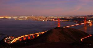 Pictures USA Rivers Bridges Evening San Francisco