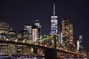 Image USA Skyscrapers Manhattan New York City Night time Megapolis Cities