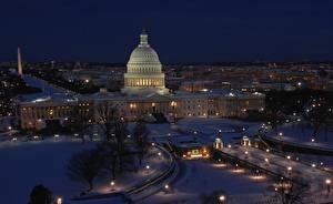 Hintergrundbilder USA Winter Washington Nacht district of Columbia, Capitol Städte