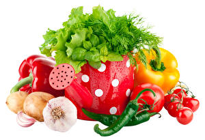 Image Vegetables Allium sativum Onion Pepper Tomatoes Chili pepper Dill White background Food