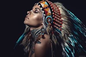 Pictures Warbonnets Black background Beautiful Indigenous peoples Girls