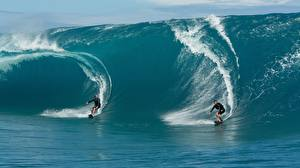 Photo Waves Men Surfing Two athletic