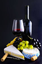 Wallpapers Wine Grapes Cheese Bottle Stemware Food