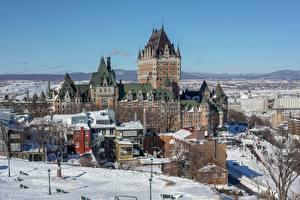 Hintergrundbilder Winter Kanada Haus Burg Quebec Schnee Dufferin Terrace Städte