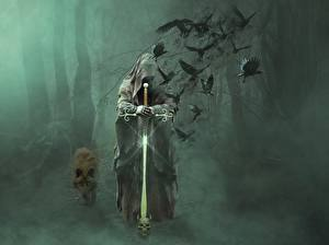 Pictures Wolves Crows Gothic Fantasy Fog Swords Hood headgear Fantasy