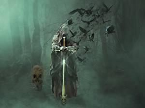 Hintergrundbilder Wolf Krähe Gothic Fantasy Nebel Schwert Kapuze Fantasy