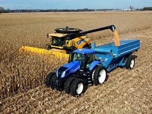 Fotos Landwirtschaftlichen Maschinen Felder Mähdrescher Traktoren 2010-16 New Holland T8.390