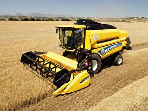 Hintergrundbilder Landwirtschaftlichen Maschinen Acker Mähdrescher 2014-19 New Holland TC5.80
