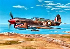 Bilder Flugzeuge Gezeichnet Flug Britisch Seitlich 1942 P-40E Kittyhawk Mk.IA Lybia 112 Sqn Clive ''Killer'' Caldwell ''Shark'' Squadron North Africa