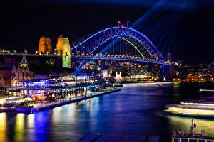 Fotos Australien Flusse Brücken Haus Sydney Nacht