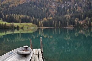 Fonds d'écran Automne Suisse Bateau Forêts Lake Davos Nature