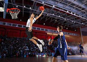Hintergrundbilder Basketball Mann Sprung Ball Hand Uniform