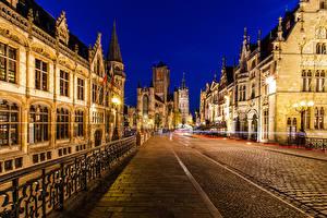 Image Belgium Ghent Building Night Street lights Street Fence Cities
