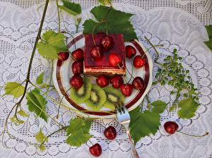 Wallpaper Berry Cherry Cake Tablecloth Foliage Plate Fork Sliced food