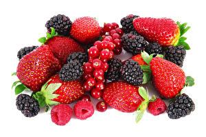 Hintergrundbilder Beere Erdbeeren Himbeeren Brombeeren Meertrübeli Weißer hintergrund Lebensmittel