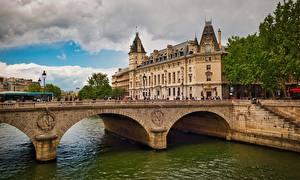 Fotos Brücke Flusse Frankreich Haus Paris Pont Saint-Michel Städte