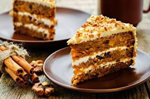 Bilder Torte Schalenobst Zimt Stück Untertasse Lebensmittel