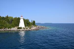 Bilder Kanada Leuchtturm Bucht Tobermory, Ontario, Georgian Bay Natur