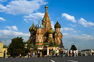 Wallpapers Cathedral Monuments Moscow Russia Temples People Domes St. Basil's Cathedral Cities