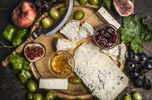 Image Cheese Grapes Common fig Peaches Jam Cutting board Food