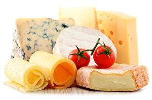 Pictures Cheese Tomatoes White background Food