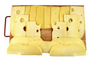 Image Cheese White background Cutting board Sliced food Food