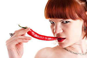 Wallpapers Chili pepper Fingers White background Redhead girl Glance Face Girls