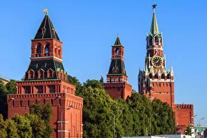 Fotos Uhr Moskauer Kreml Moskau Russland Turm Spasskaya tower Städte